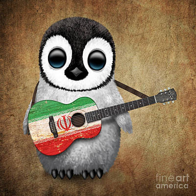 Jeff Digital Art - Baby Penguin Playing Iranian Flag Guitar by Jeff Bartels