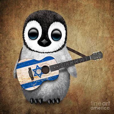 Birds Of Israel Digital Art - Baby Penguin Playing Israeli Flag Guitar by Jeff Bartels