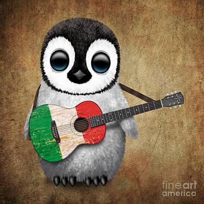 Adorable Digital Art - Baby Penguin Playing Italian Flag Guitar by Jeff Bartels