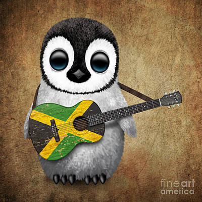 Jamaican Digital Art - Baby Penguin Playing Jamaican Flag Guitar by Jeff Bartels