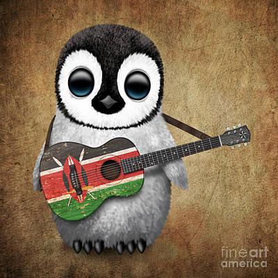 Adorable Digital Art - Baby Penguin Playing Kenyan Flag Guitar by Jeff Bartels