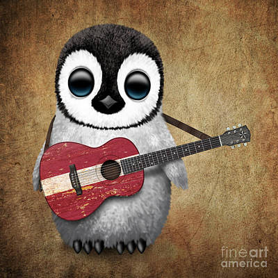 Jeff Digital Art - Baby Penguin Playing Latvian Flag Guitar by Jeff Bartels