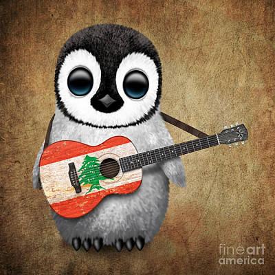 Adorable Digital Art - Baby Penguin Playing Lebanese Flag Guitar by Jeff Bartels