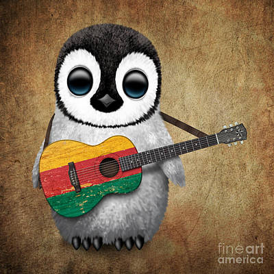 Baby Penguin Playing Lithuanian Flag Guitar Print by Jeff Bartels