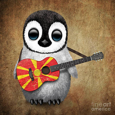 Jeff Digital Art - Baby Penguin Playing Macedonian Flag Guitar by Jeff Bartels