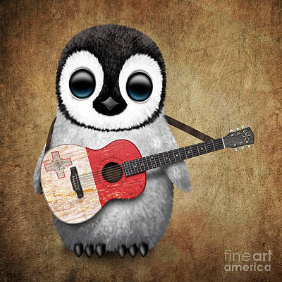 Jeff Digital Art - Baby Penguin Playing Maltese Flag Guitar by Jeff Bartels