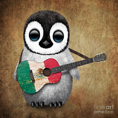 Adorable Digital Art - Baby Penguin Playing Mexican Flag Guitar by Jeff Bartels