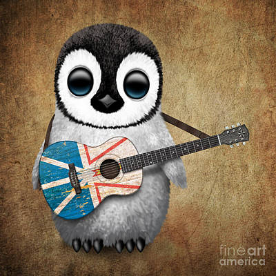 Jeff Digital Art - Baby Penguin Playing Newfoundland Flag Guitar by Jeff Bartels