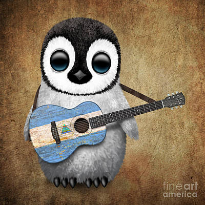 Adorable Digital Art - Baby Penguin Playing Nicaraguan Flag Guitar by Jeff Bartels