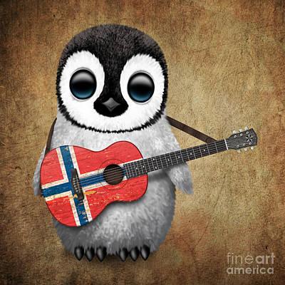 Adorable Digital Art - Baby Penguin Playing Norwegian Flag Guitar by Jeff Bartels