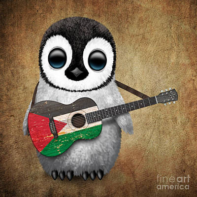Jeff Digital Art - Baby Penguin Playing Palestinian Flag Guitar by Jeff Bartels