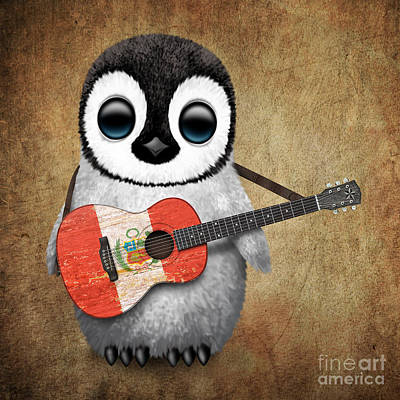 Jeff Digital Art - Baby Penguin Playing Peruvian Flag Guitar by Jeff Bartels