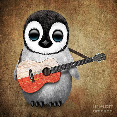 Jeff Digital Art - Baby Penguin Playing Polish Flag Guitar by Jeff Bartels