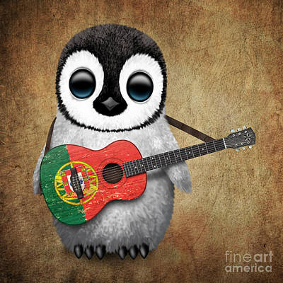 Jeff Digital Art - Baby Penguin Playing Portuguese Flag Guitar by Jeff Bartels
