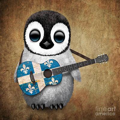 Adorable Digital Art - Baby Penguin Playing Quebec Flag Guitar by Jeff Bartels