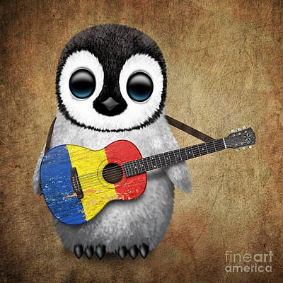 Adorable Digital Art - Baby Penguin Playing Romanian Flag Guitar by Jeff Bartels