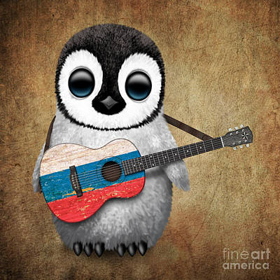 Adorable Digital Art - Baby Penguin Playing Russian Flag Guitar by Jeff Bartels