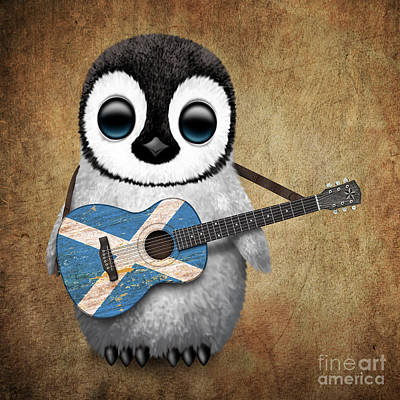Adorable Digital Art - Baby Penguin Playing Scottish Flag Guitar by Jeff Bartels