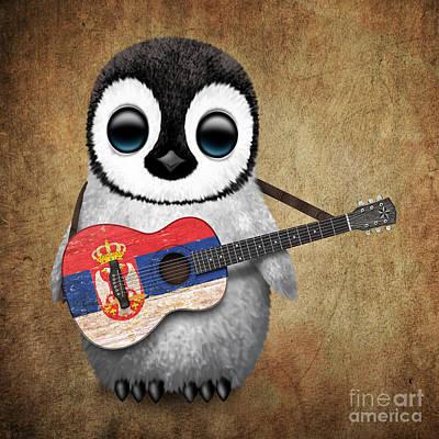 Adorable Digital Art - Baby Penguin Playing Serbian Flag Guitar by Jeff Bartels