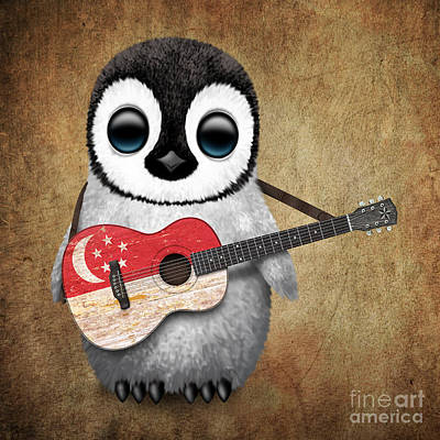 Adorable Digital Art - Baby Penguin Playing Singapore Flag Guitar by Jeff Bartels
