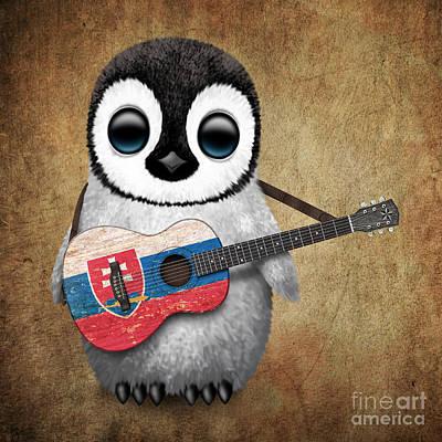 Adorable Digital Art - Baby Penguin Playing Slovakian Flag Guitar by Jeff Bartels