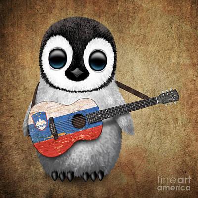 Adorable Digital Art - Baby Penguin Playing Slovenian Flag Guitar by Jeff Bartels