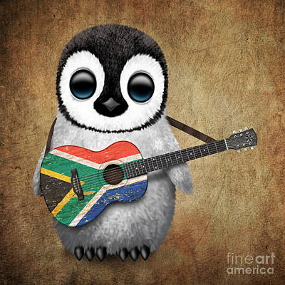Adorable Digital Art - Baby Penguin Playing South African Flag Guitar by Jeff Bartels