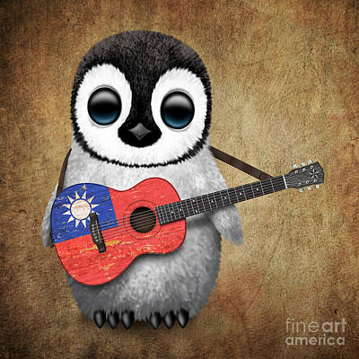 Adorable Digital Art - Baby Penguin Playing Taiwanese Flag Guitar by Jeff Bartels