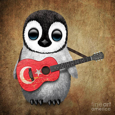 Baby Penguin Playing Turkish Flag Guitar Art Print by Jeff Bartels