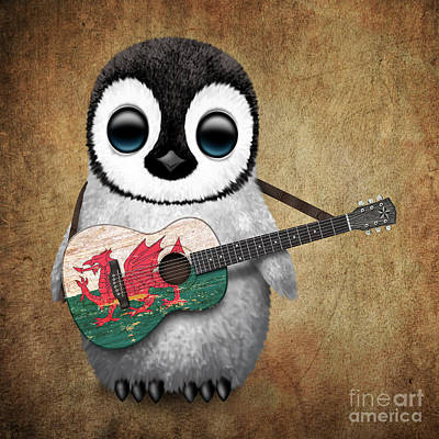 Adorable Digital Art - Baby Penguin Playing Welsh Flag Guitar by Jeff Bartels