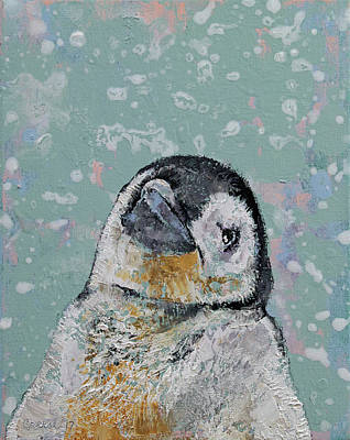 Impasto Oil Painting - Baby Penguin Snowflakes by Michael Creese