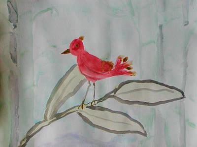 Wall Art - Painting - Baby Phoenix In Bamboo Forest by Helen Krummenacker