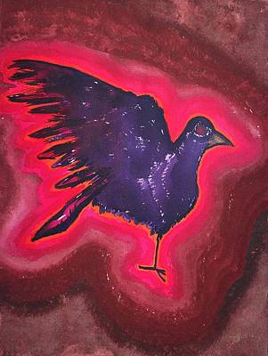 Combustion Painting - Baby Phoenix Original Painting by Sol Luckman