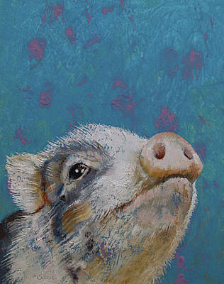 Piglets Painting - Baby Pig by Michael Creese