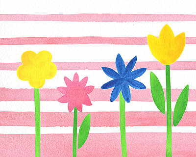 Alphabet Flash Cards Painting - Baby Pink Flower Bed by Irina Sztukowski