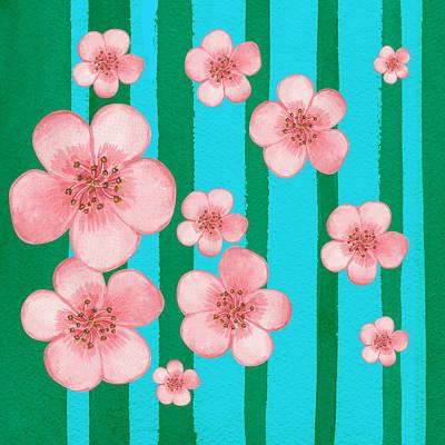 Card Painting - Baby Pink Flowers Garden  by Irina Sztukowski