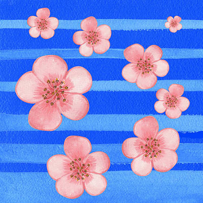 Royalty-Free and Rights-Managed Images - Baby Pink Flowers On Blue  by Irina Sztukowski