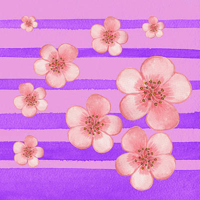 Painting - Baby Pink Flowers On Purple  by Irina Sztukowski