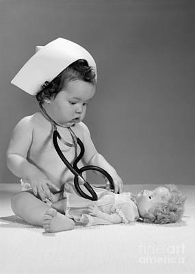Baby Playing Doctor, C. 1960s Art Print