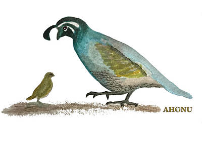 Painting - Baby Quail Learns The Rules by Ahonu