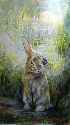 Wall Art - Painting - Baby Rabbit by Penny Golledge