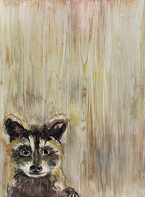 Wall Art - Painting - Baby Raccoon Painting by Kim Guthrie