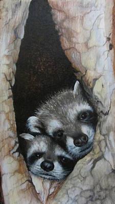 Mixed Media - Baby Raccoons by Barbara Prestridge