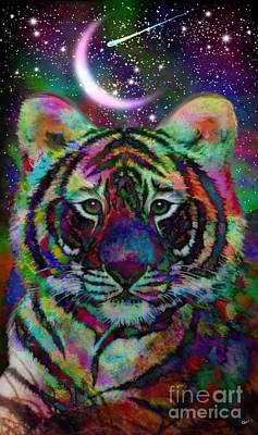 Digital Art - Baby Rainbow Tiger by Nick Gustafson