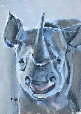 Painting - Baby Rhinoceros Safari Animal Painting by Donna Tuten