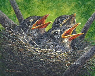 Art Print featuring the painting Baby Robins by Kim Lockman