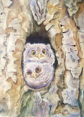 Hollow Painting - Baby Screech Owls by Patricia Pushaw