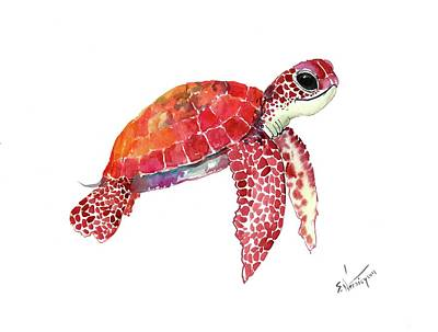 Painting - Baby Sea Turtle Children Room Artwork Turtle Illustration by Suren Nersisyan