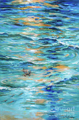 Painting - Baby Sea Turtle In Shallows by Linda Olsen