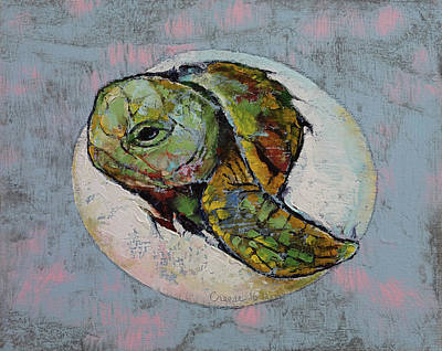 Turtle Painting - Baby Sea Turtle by Michael Creese